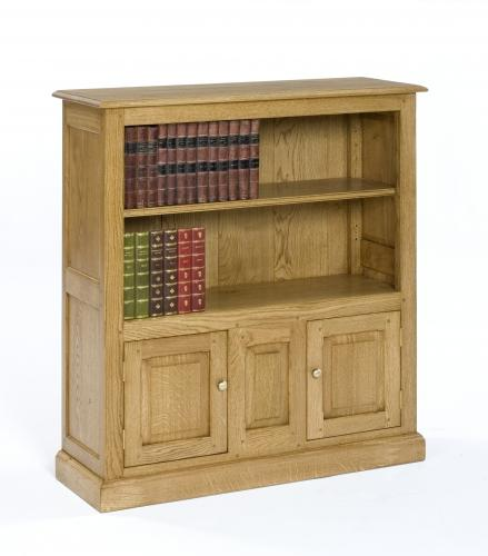Oak Open Bookcase with cupboards