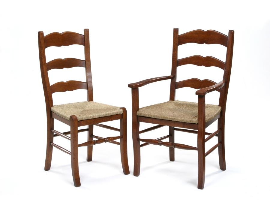 Oak French Cottage Ladder Back Dining Chairs