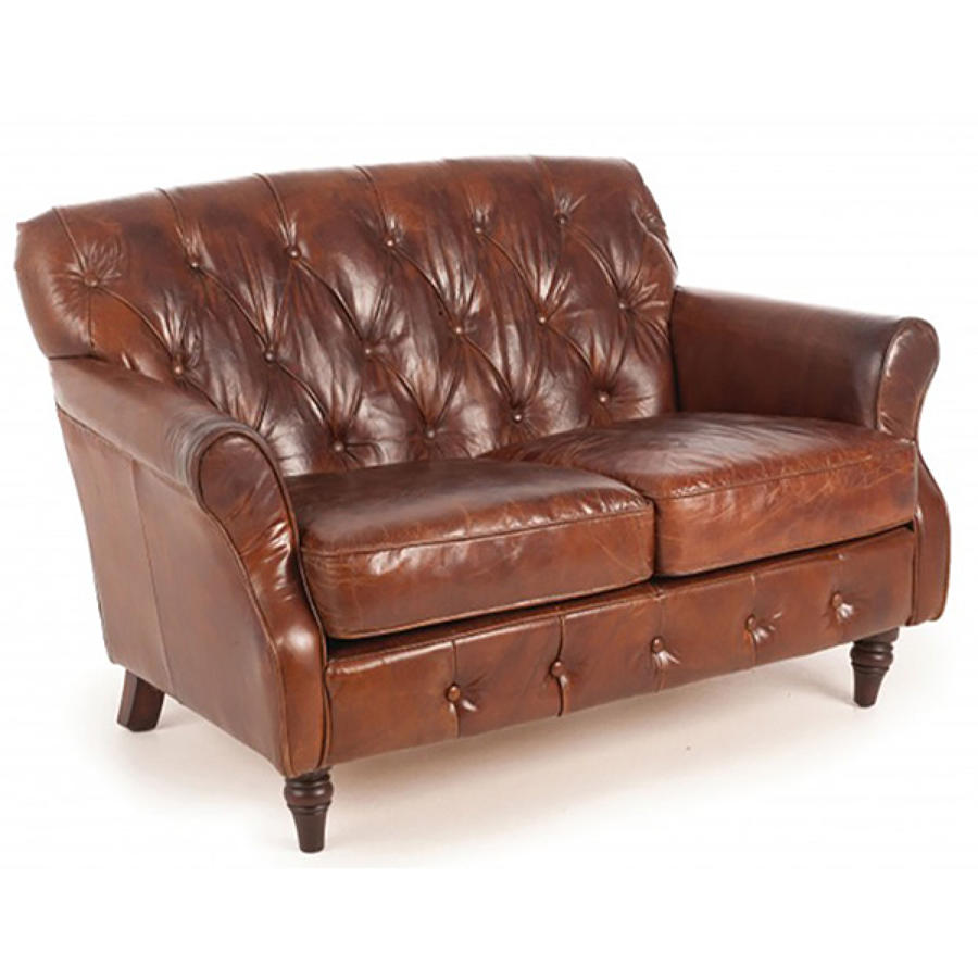 Button Back Leather Sofa