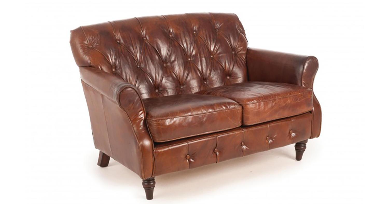Button Back Leather Sofa
