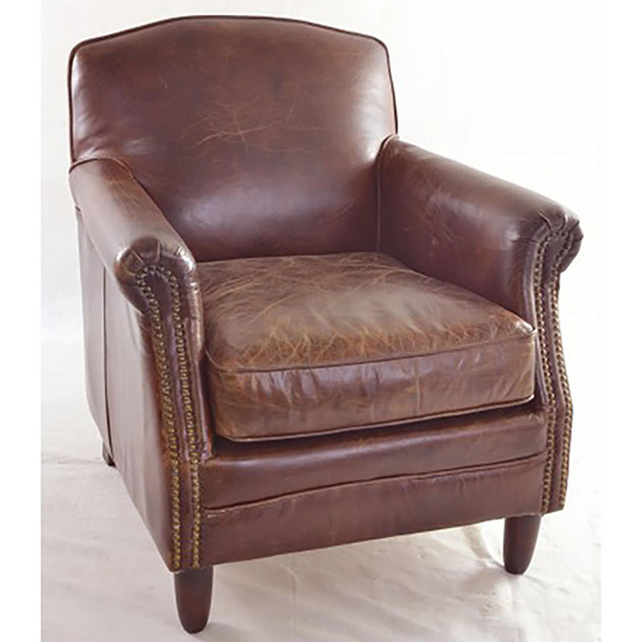 Studded Front Leather Armchair