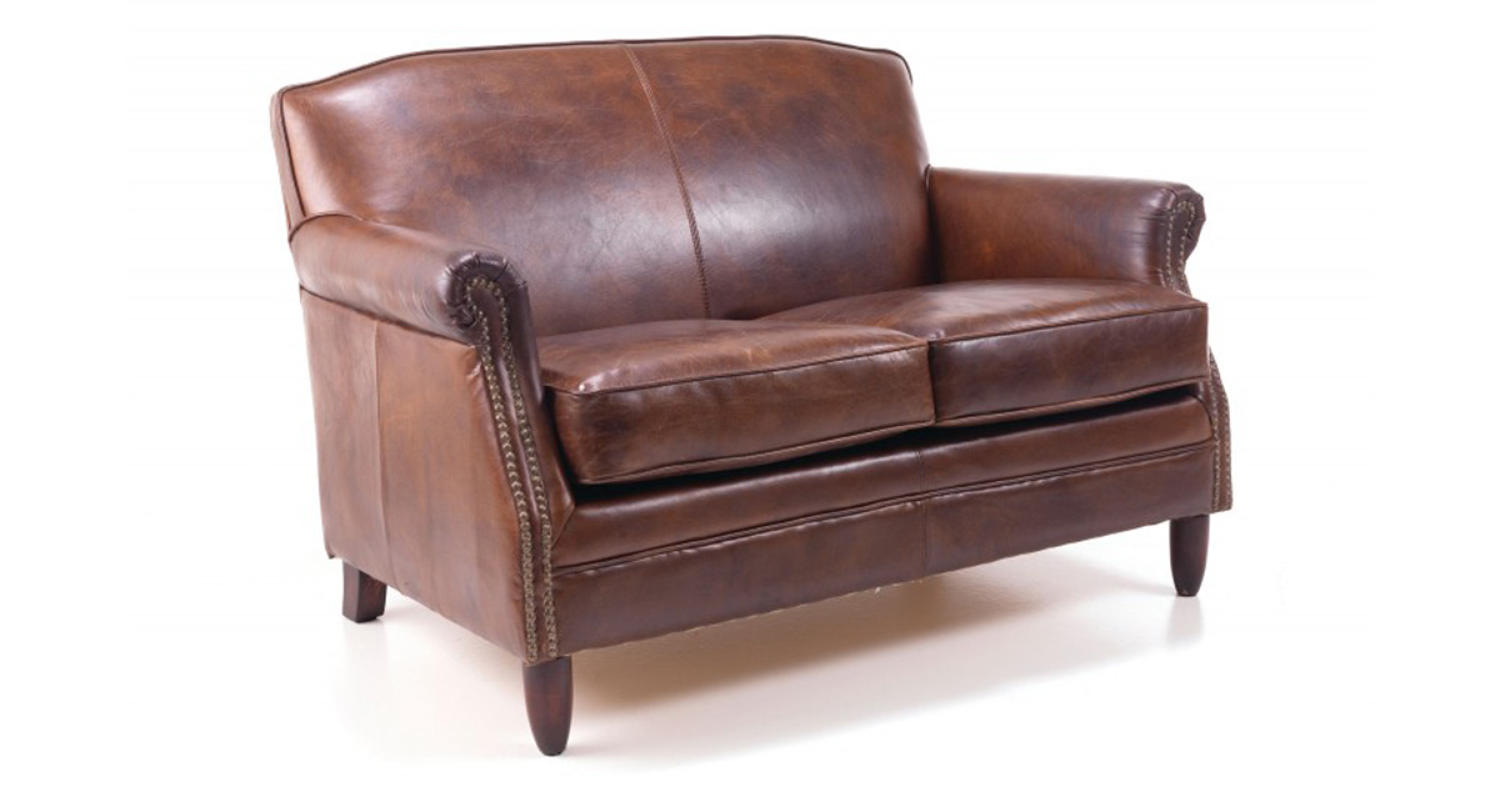 Studded Front Leather Sofa