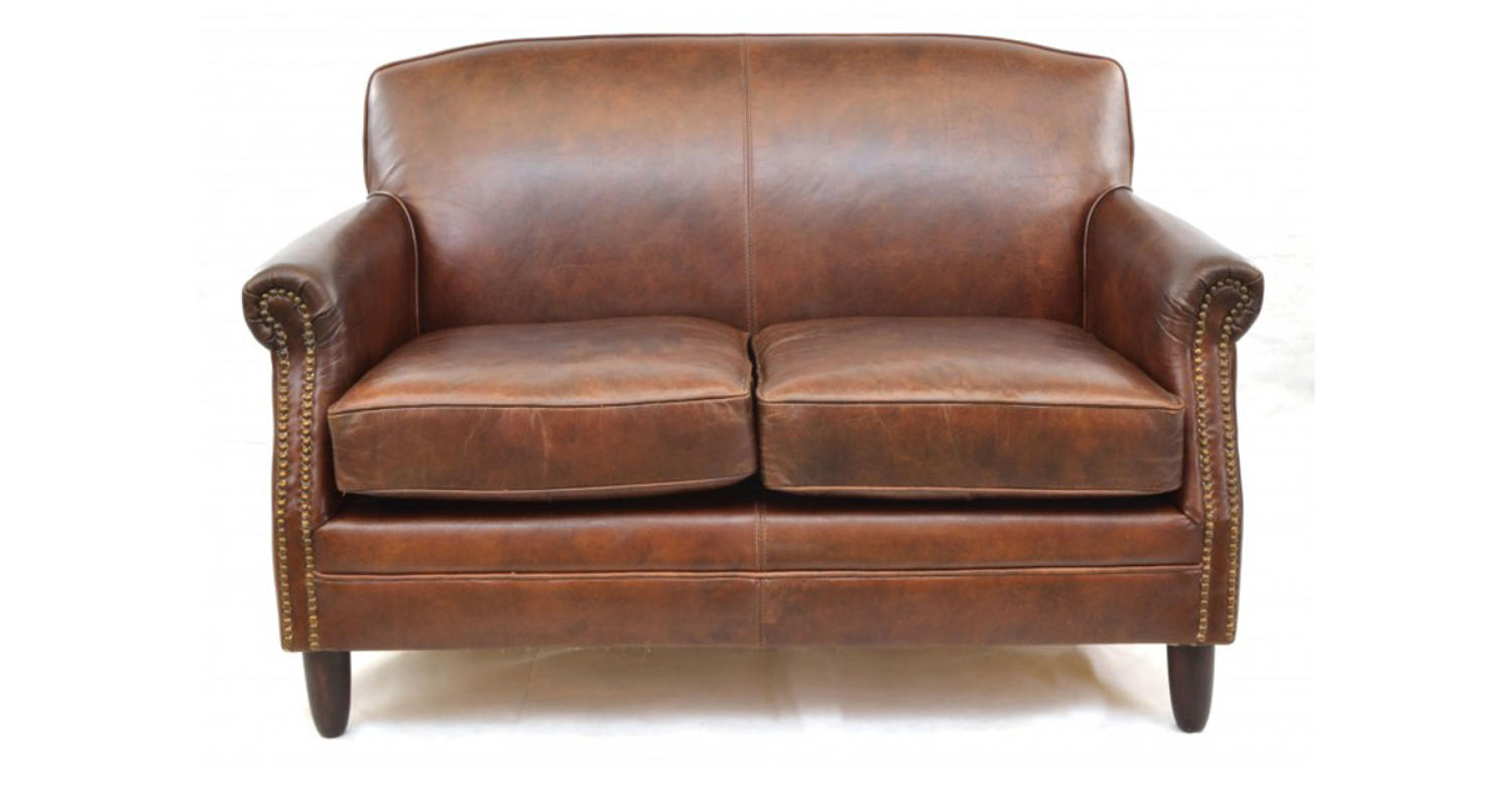 Studded front leather sofa in sofas armchairs for Brown leather couch with studs