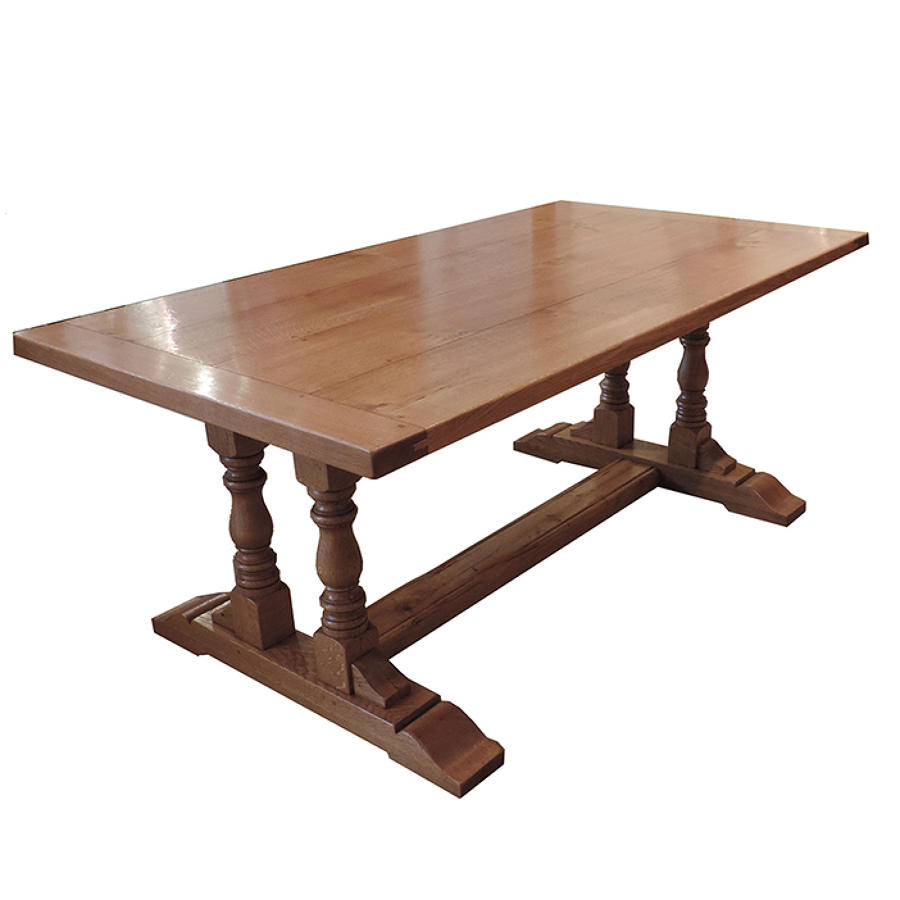 Twin Column Oak Refectory Dining Tables