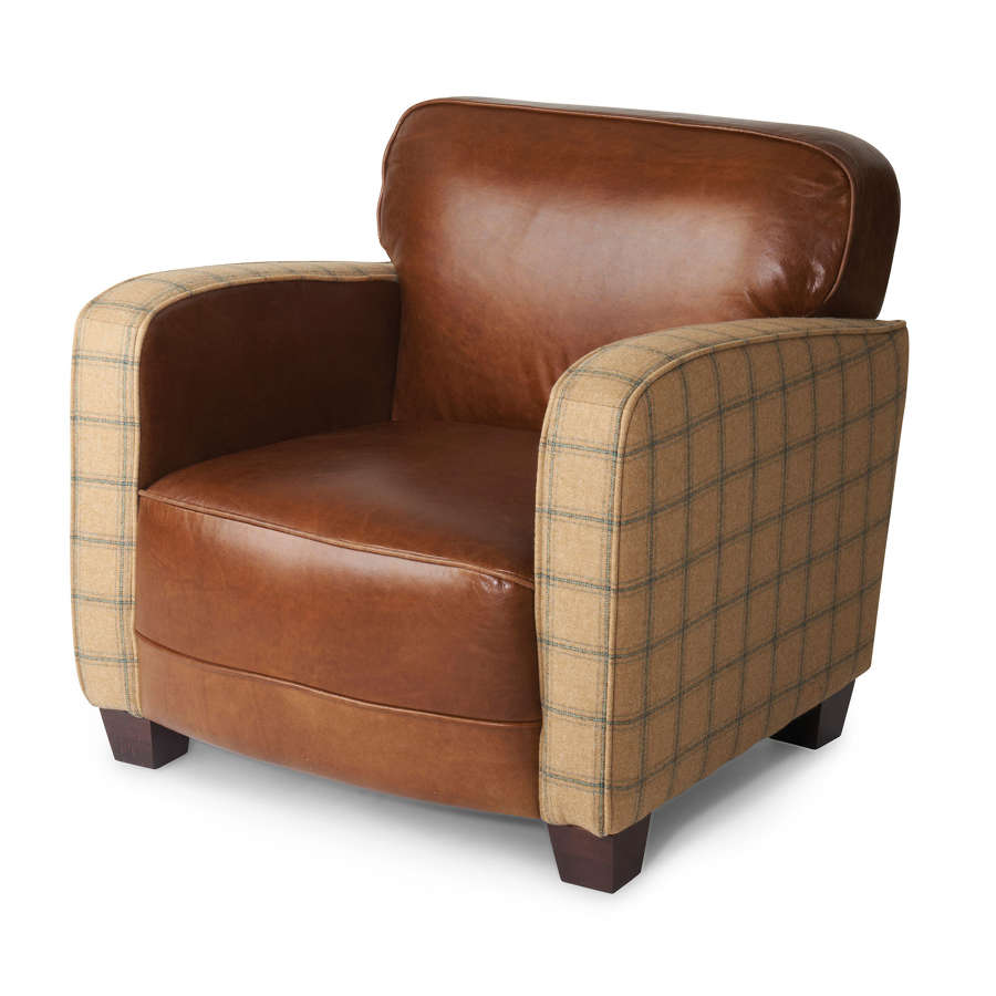 Harris Tweed and Leather Roger Armchair