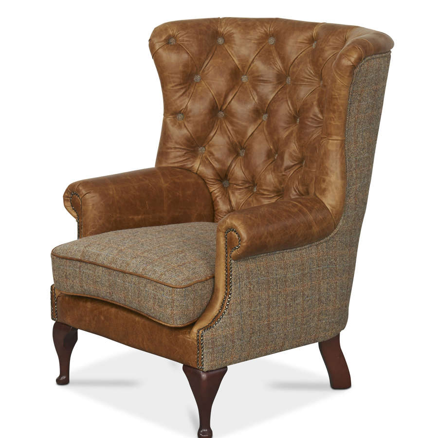 Harris Tweed and Leather Wing Wrap Armchair