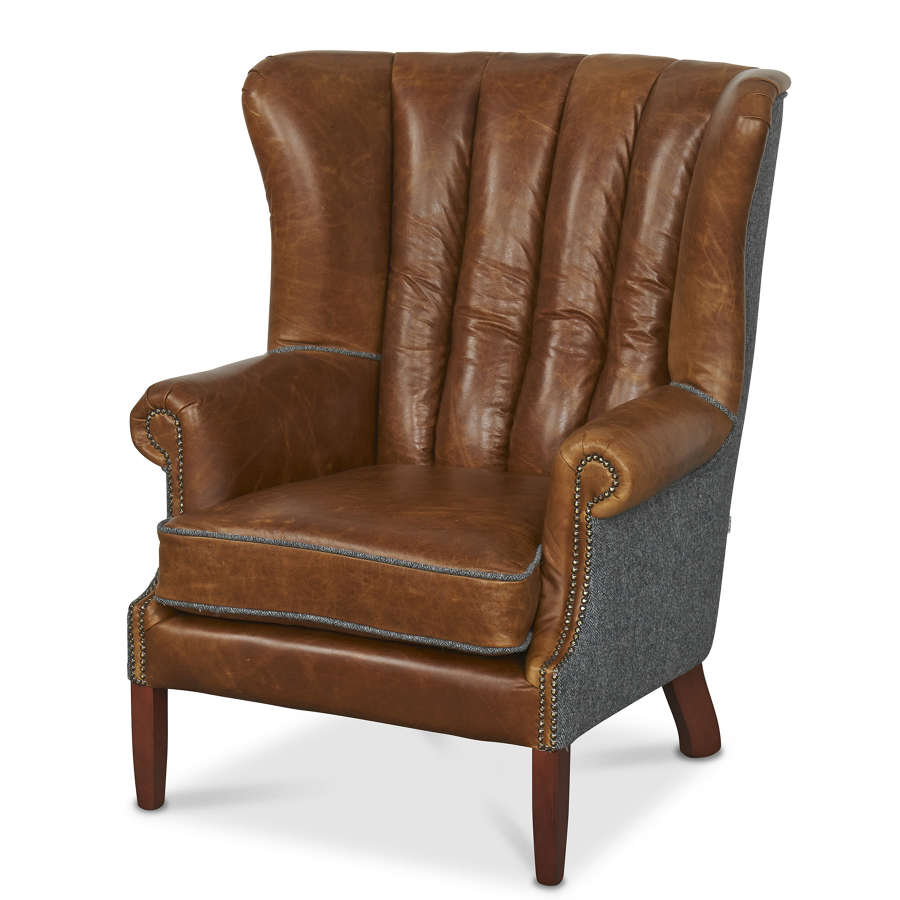 Harris Tweed and Leather Fluted Wing Armchair