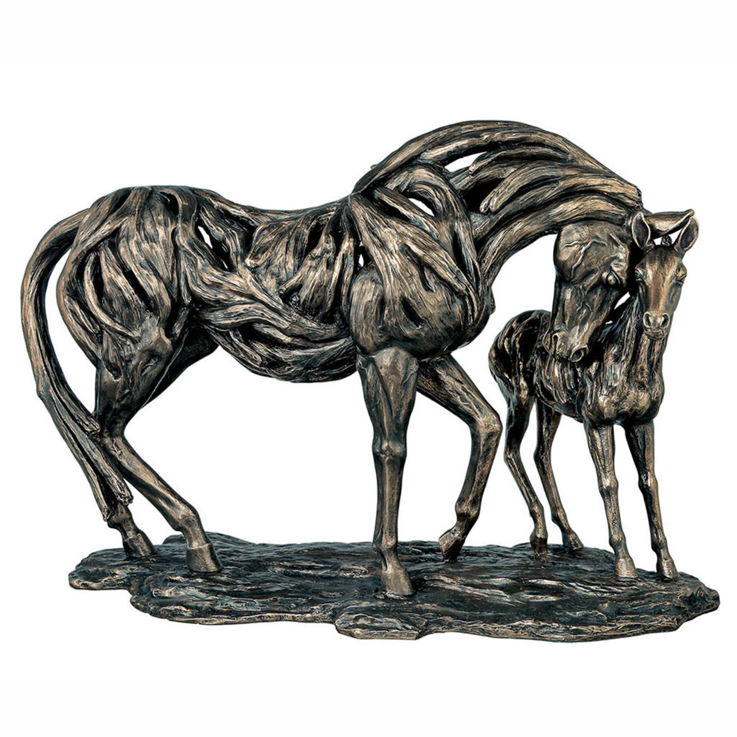 Mare and Foal Horse cold cast bronze sculpture