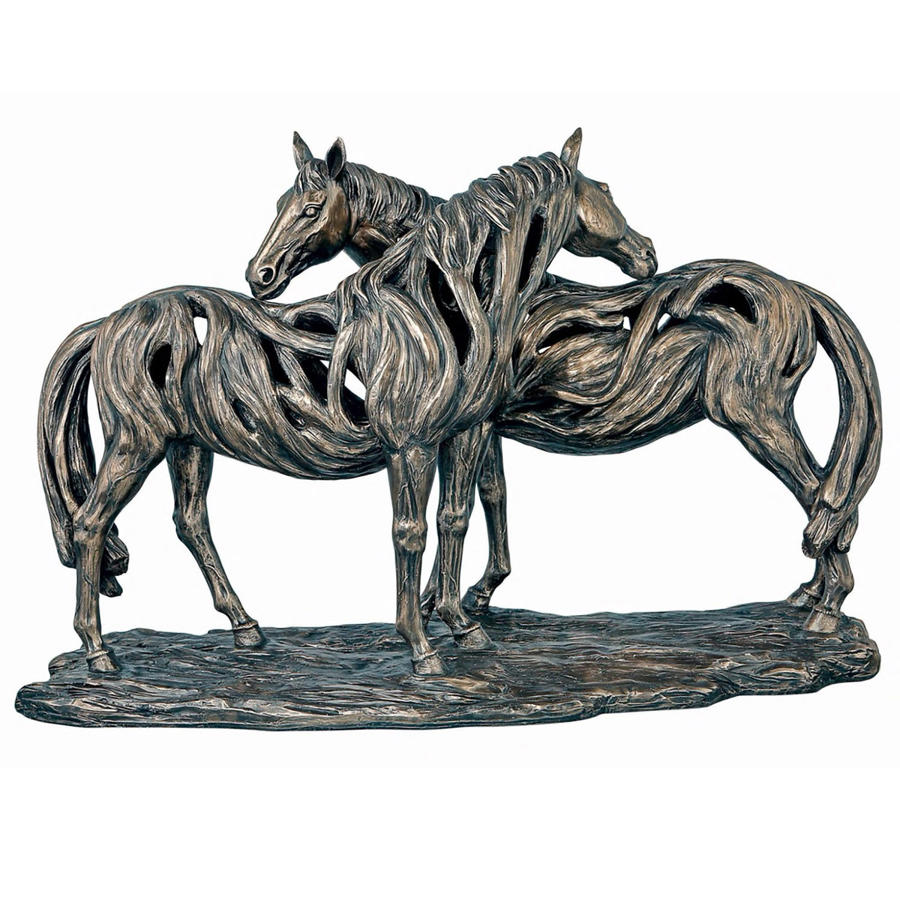 A Pair of Horses cold cast bronze sculpture
