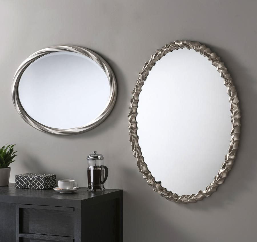 Oval silver wall mirror