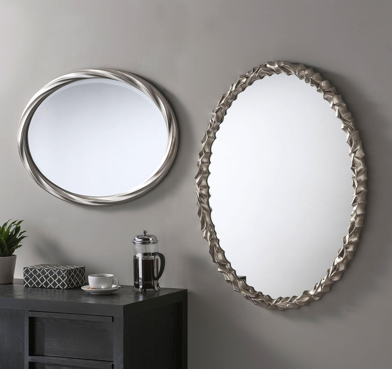 Oval silver wall mirror