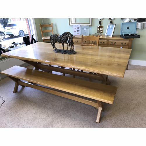 X frame waney edge dining table