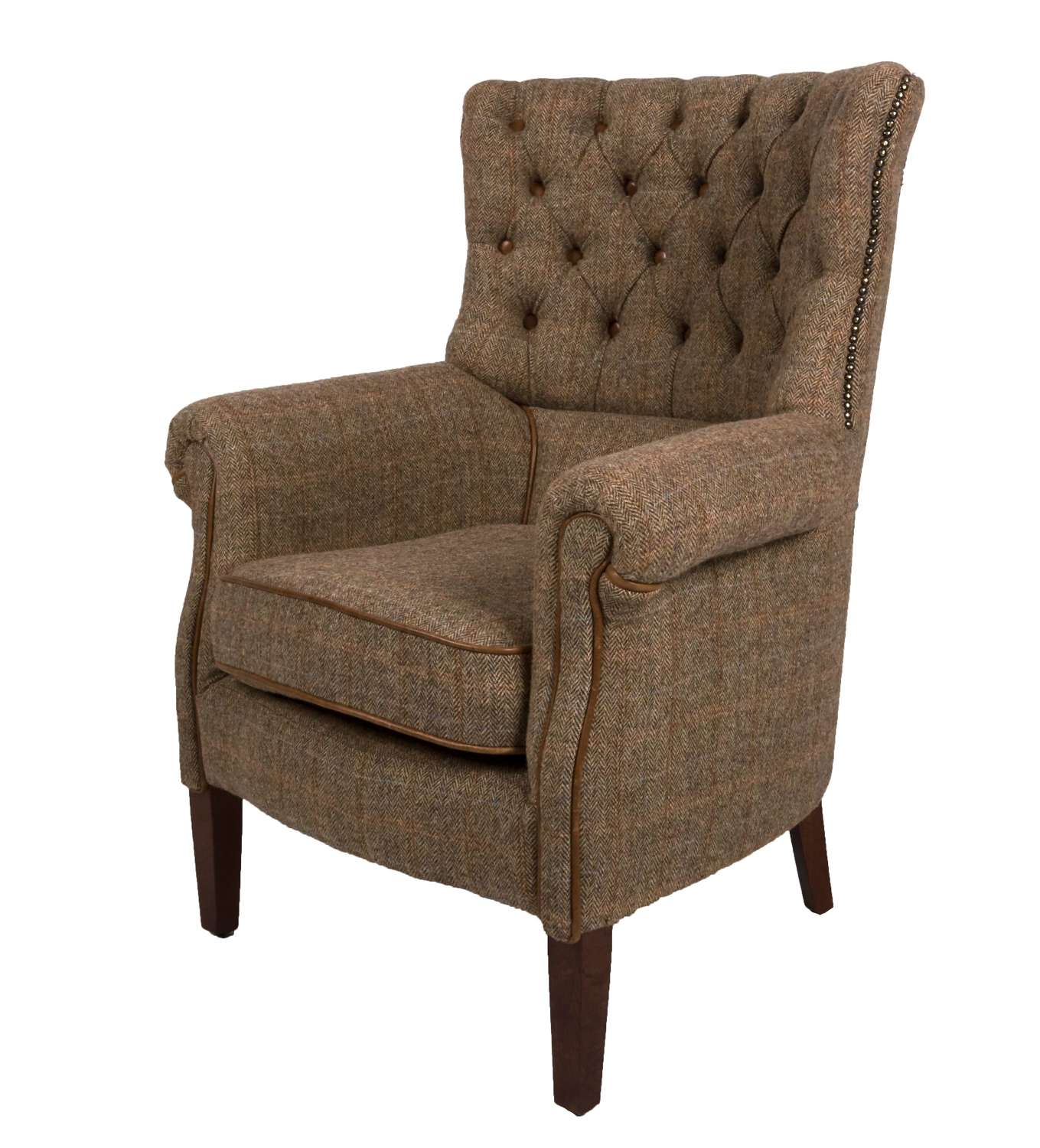 Holker ArmChair in Gamekeeper HarrisTweed and Cerato Leather