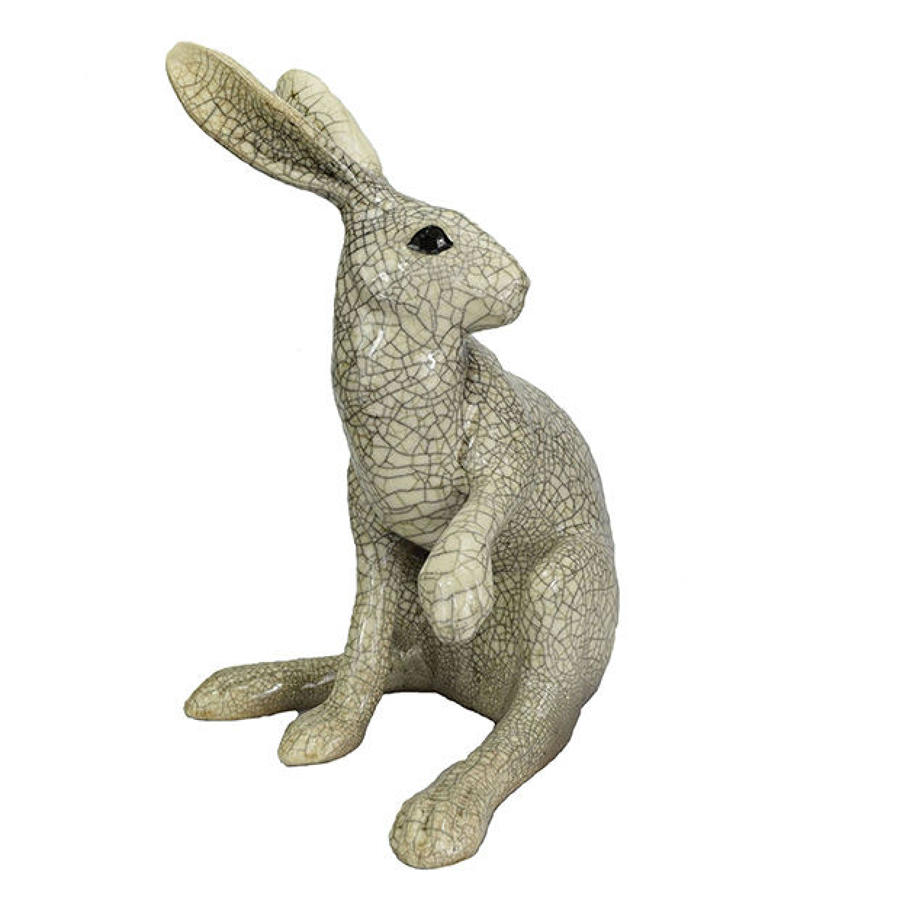 Large Paw Up Raku Hare Sculpture