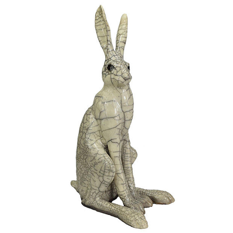 Large Sitting Raku Hare Sculpture