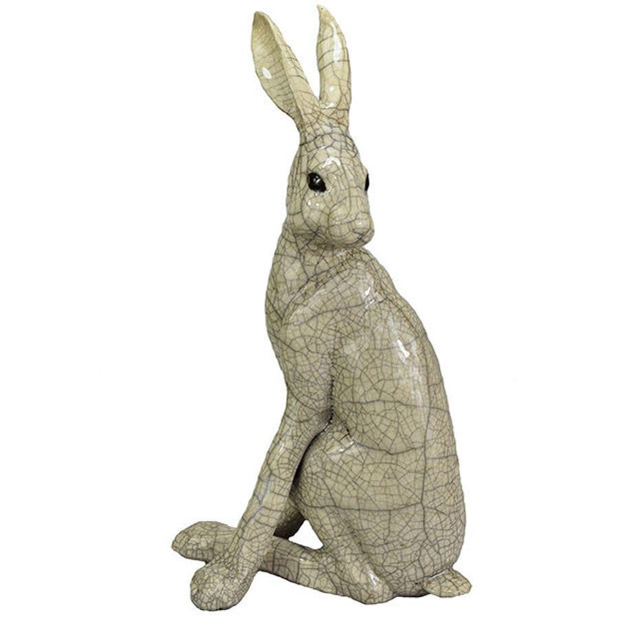 Large Turning Hare Raku Sculpture