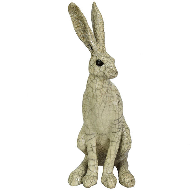 Medium Sitting Raku Hare Sculpture