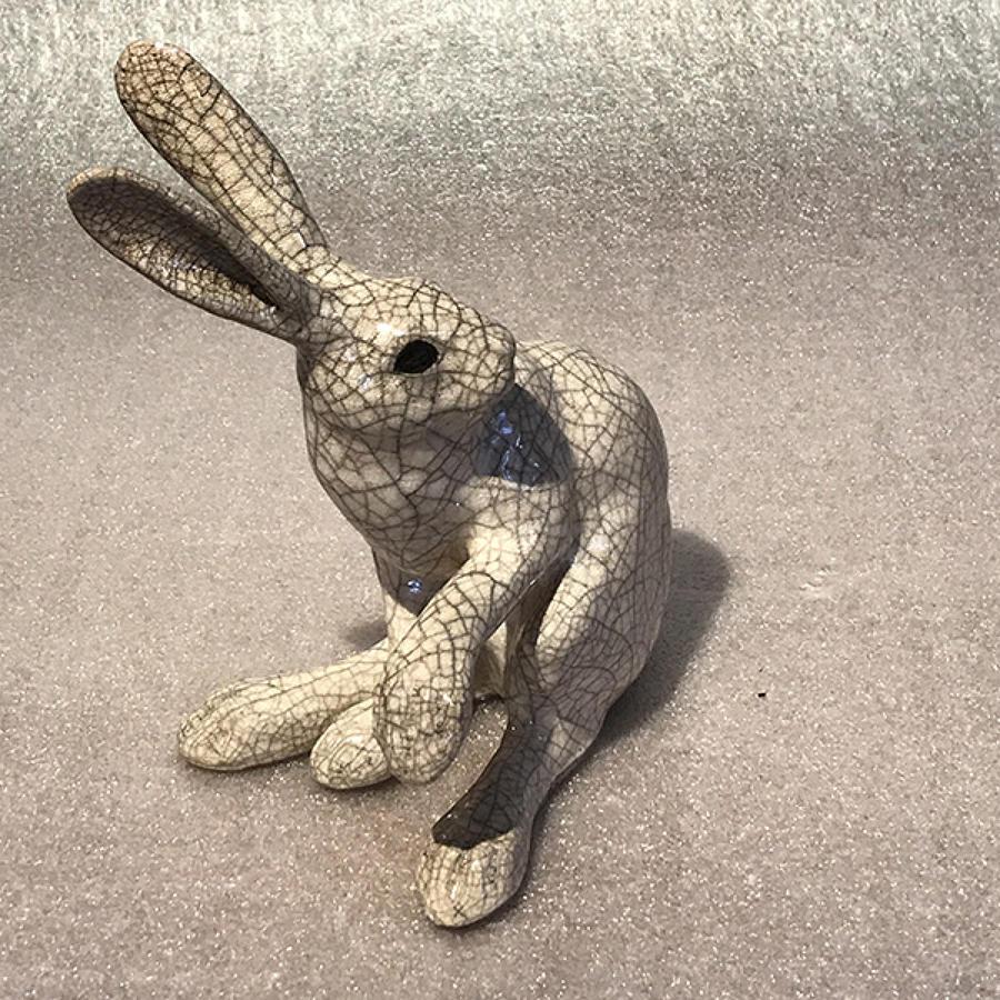 Medium 'paw up' Raku Hare Sculpture