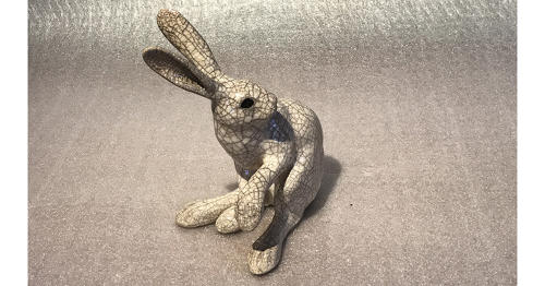 Medium 'paw up' Raku Hare Sculpture