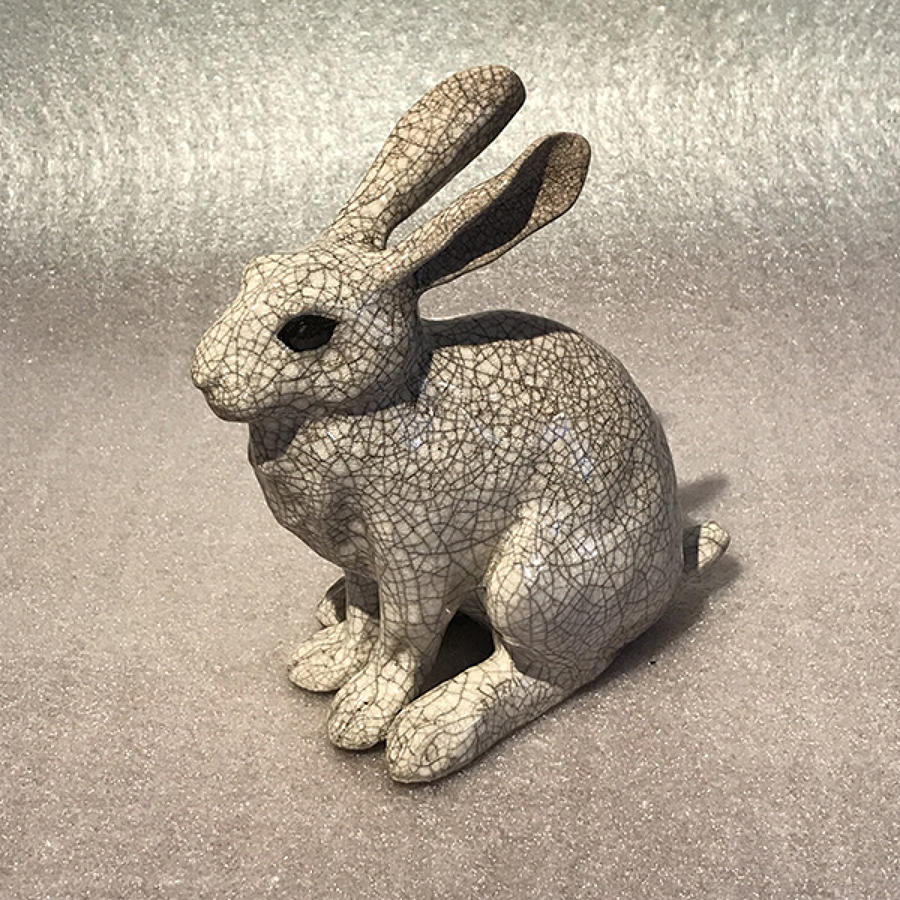 Medium 'Leveret' Raku Hare Sculpture