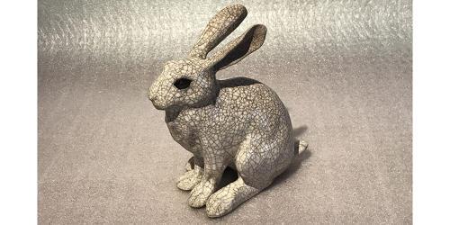 Medium 'Leveret' Raku Hare Sculpture