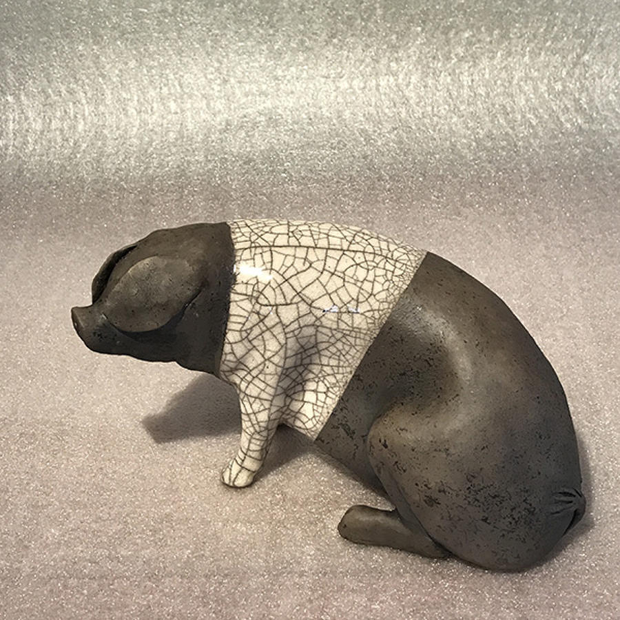 Medium Saddleback Raku pig Sculpture