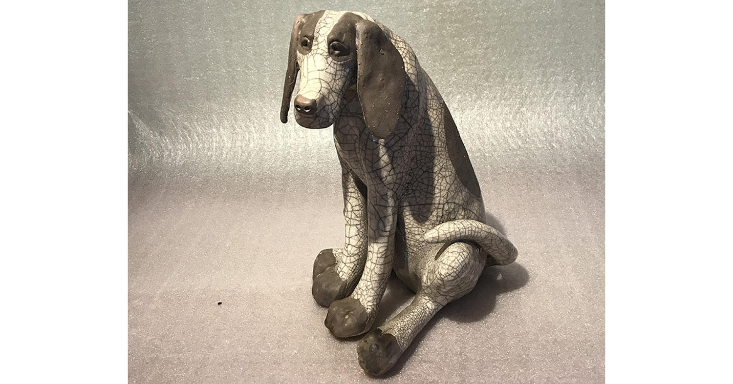 Large 'Sitting' Raku Dog Sculpture