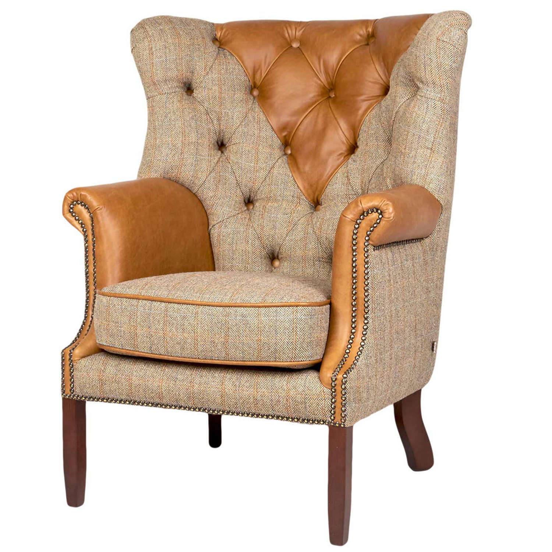 Kensington Armchair in Gamekeeper Thorn and leather
