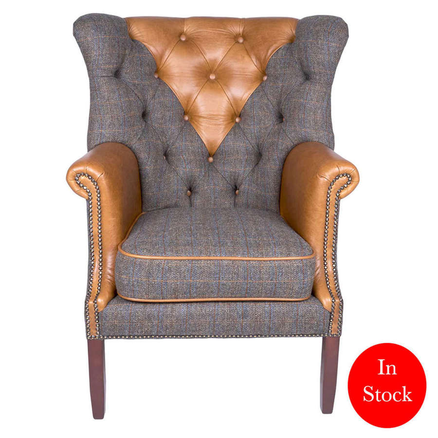 Kensington Armchairs in Harris Tweed Uist Night and Leather