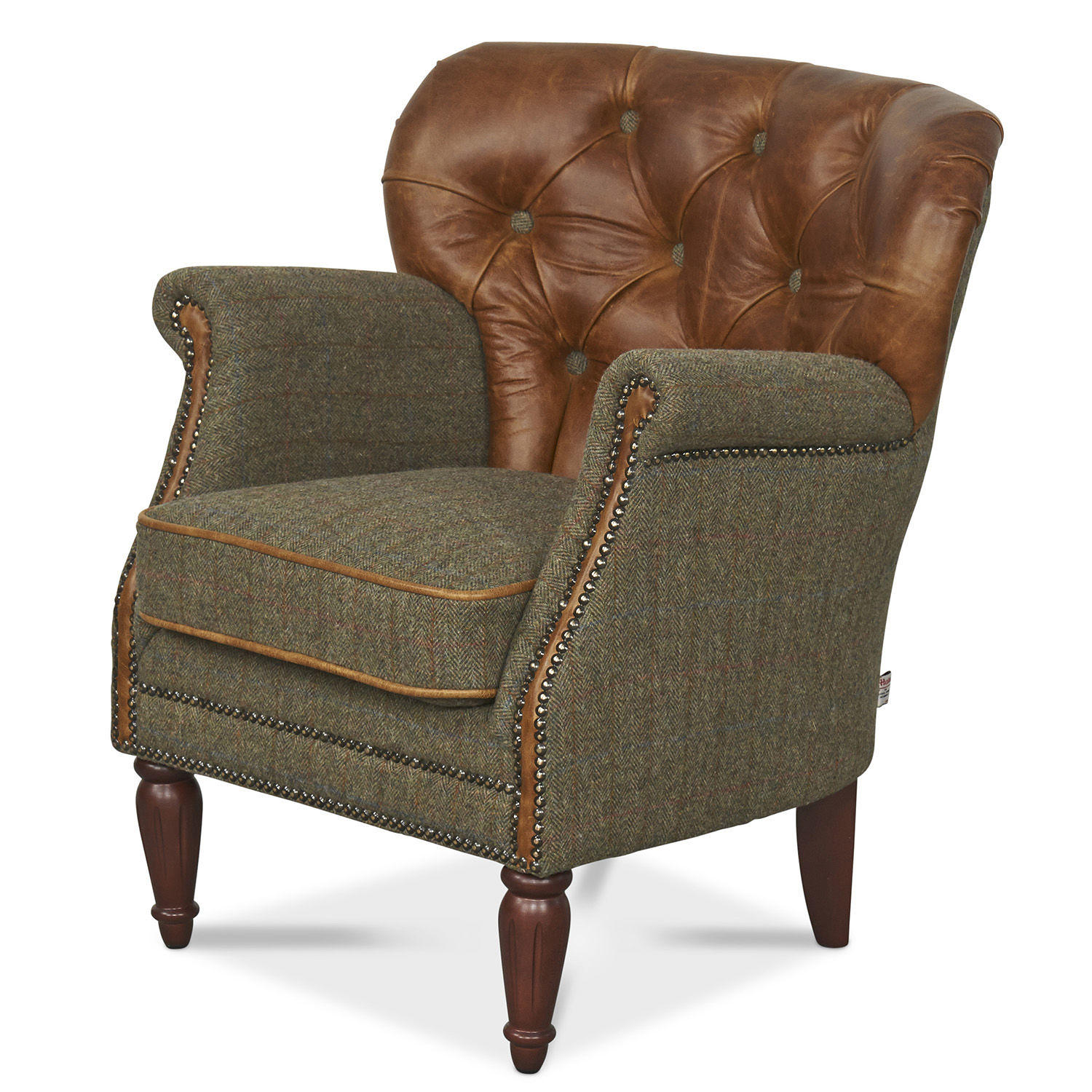 Marlon Armchair in Harris Tweed and Leather