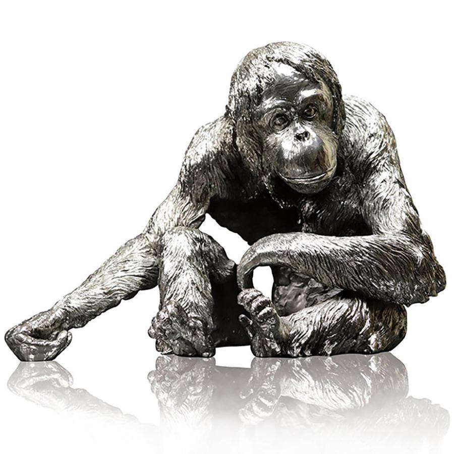 Nickel Resin Orangutan sculpture