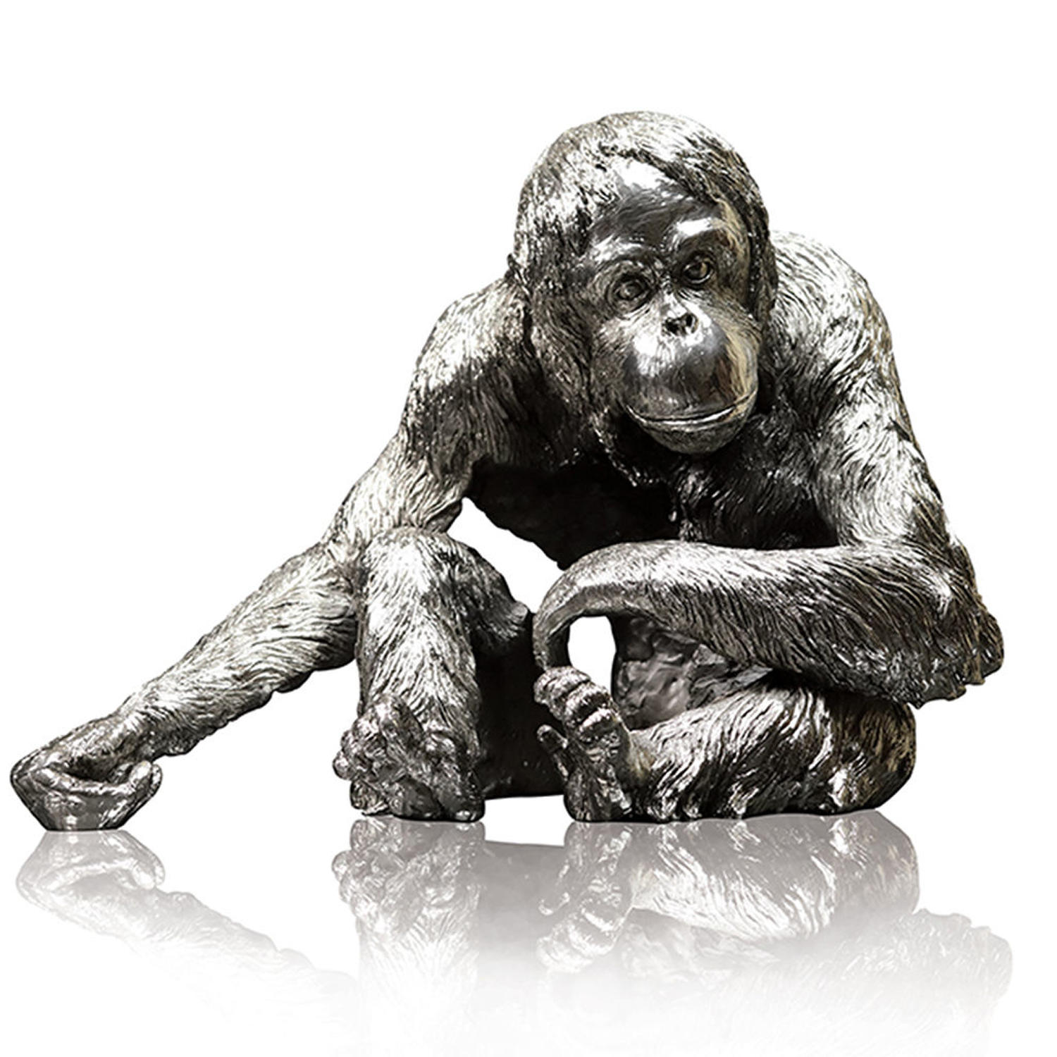 Nickel Resin Orangutan sculpture