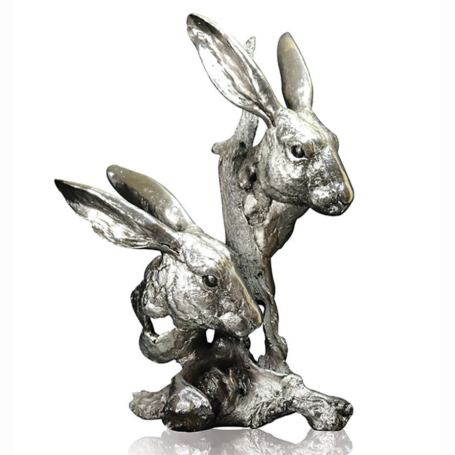 Nickel Resin Sculpture of Hares