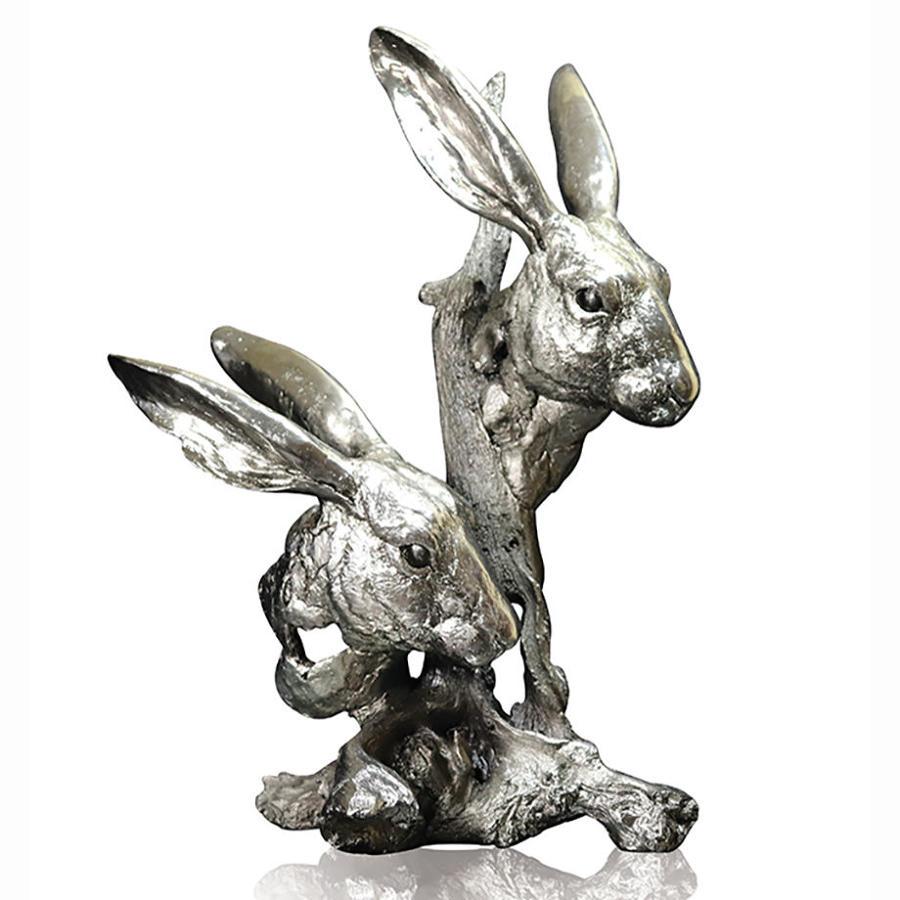 Nickel Resin Sculpture of Hares