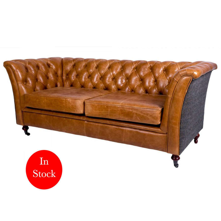Ceasar Sofa in Cerato Brown leather and harris tweed uist night