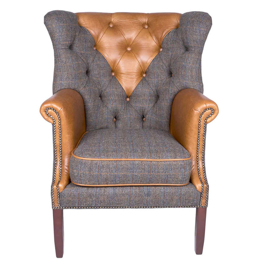 Harris Tweed and Leather Kensington Armchair