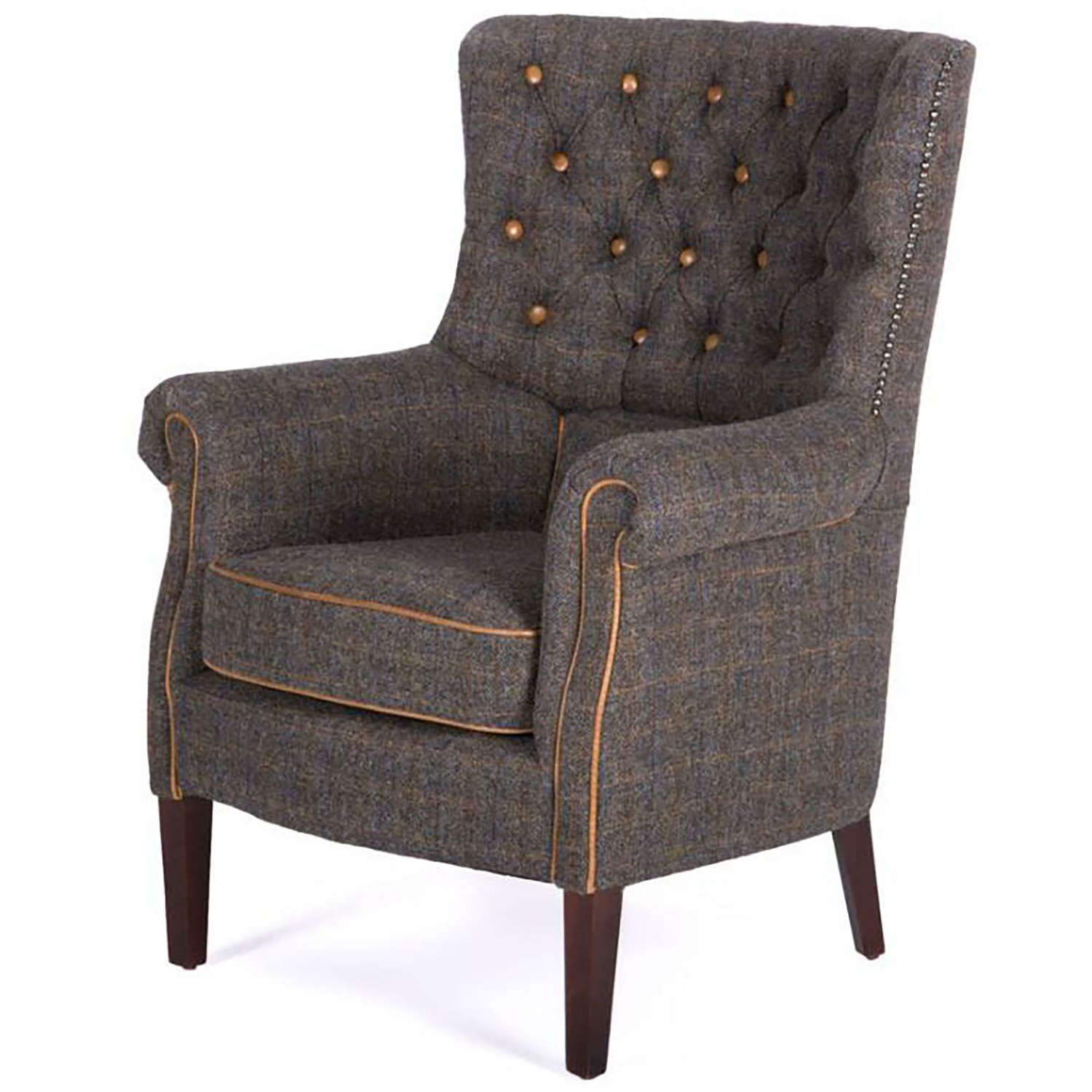 Holker Armchair in harris tweed and leather
