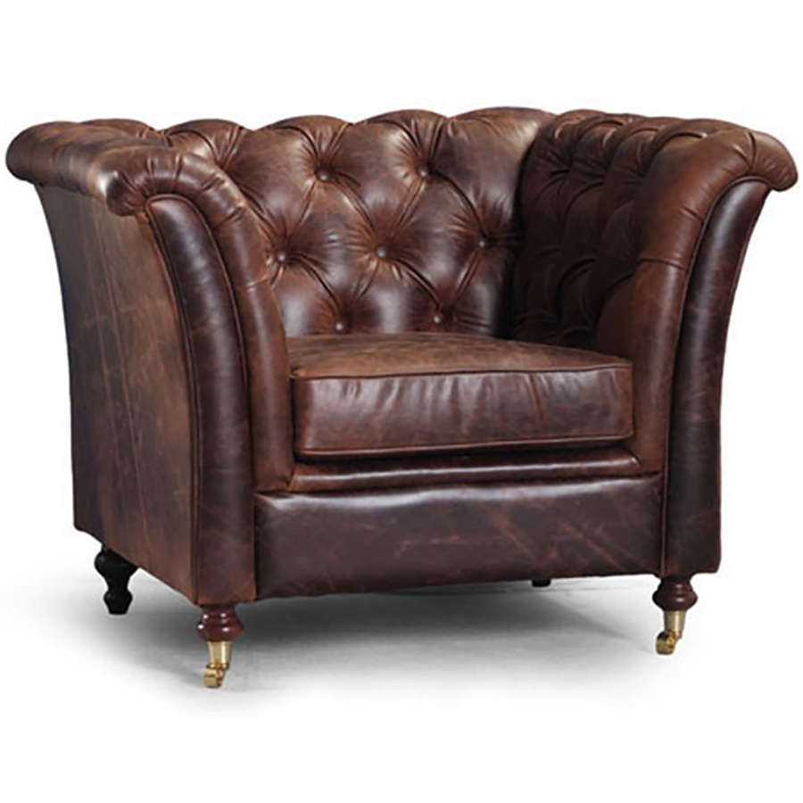 Harris Tweed and Leather Ceasar armchair