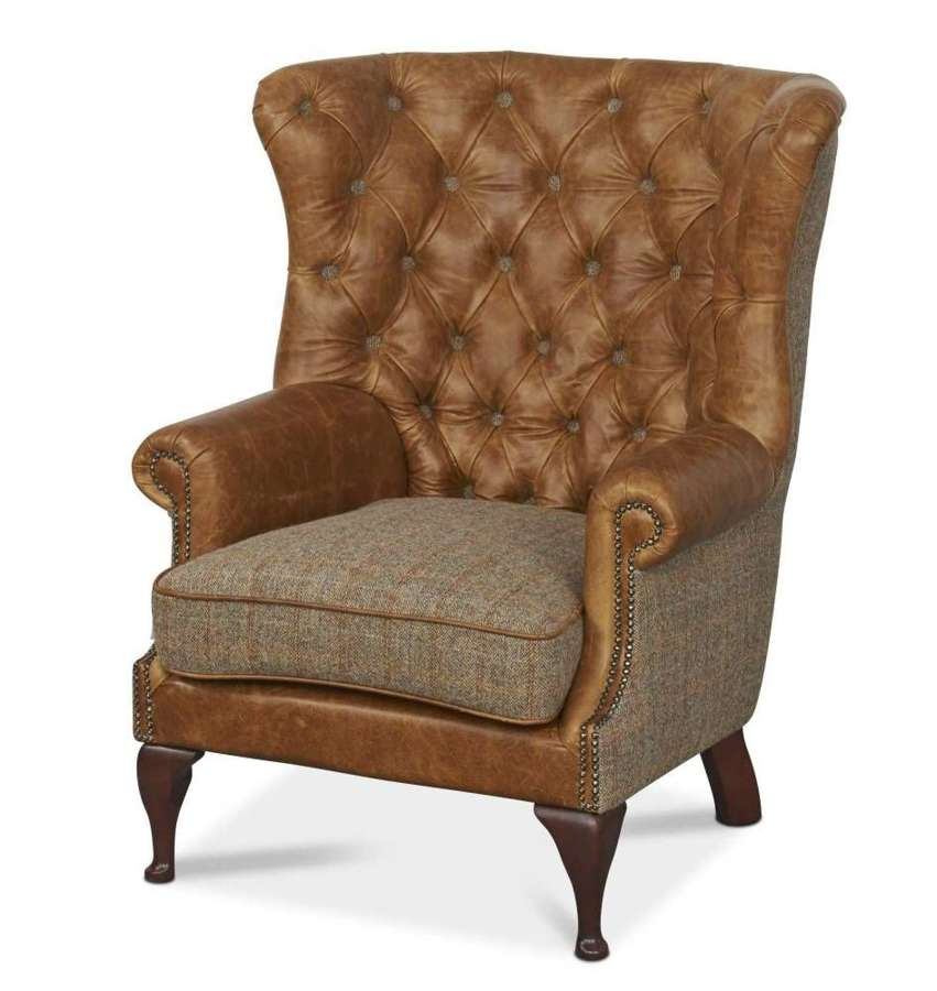 Wing Wrap Armchair in gamekeeper and leather