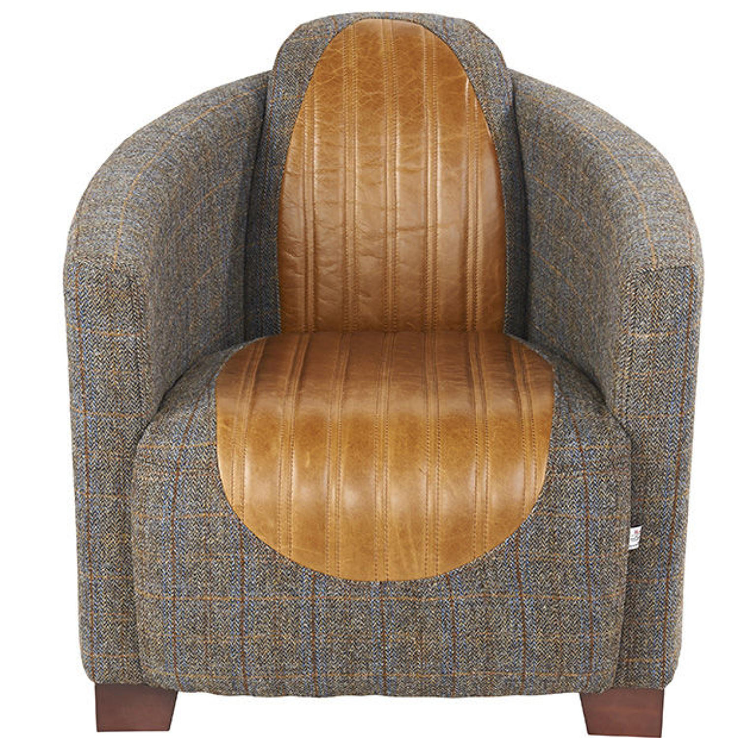 Harris Tweed and Leather Sovereign Armchair