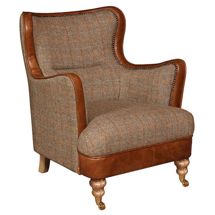 Ellis Armchair in Harris Tweed and Leather