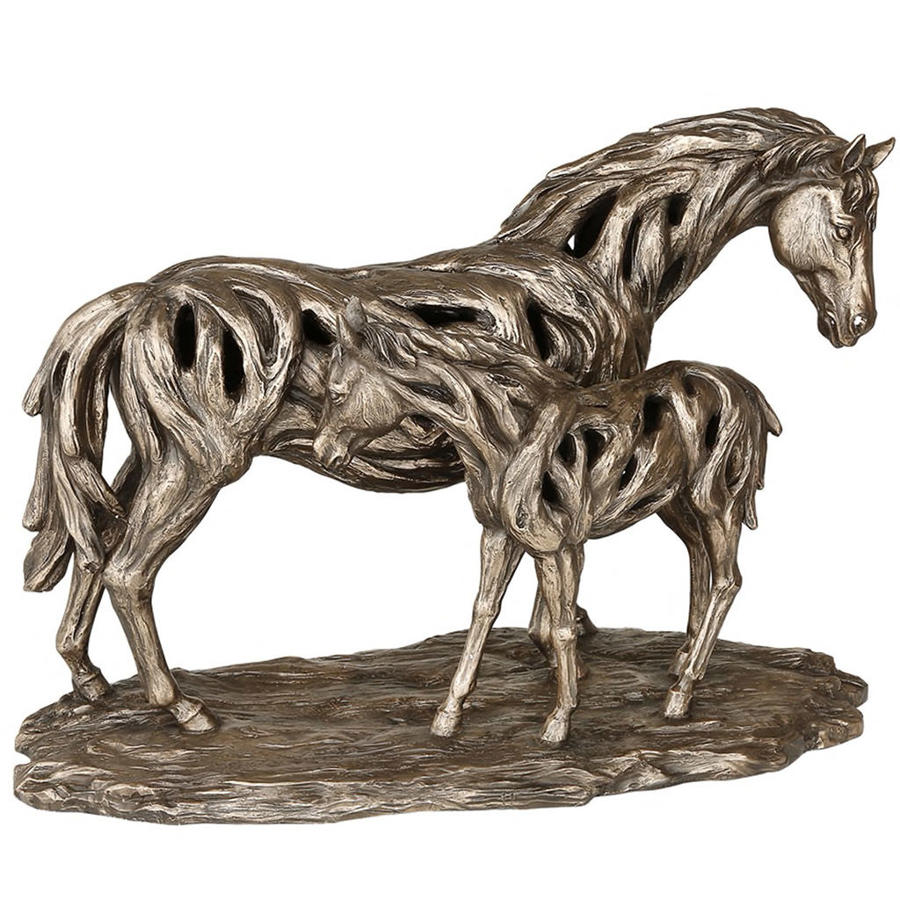 Driftwood Mare and Foal sculpture