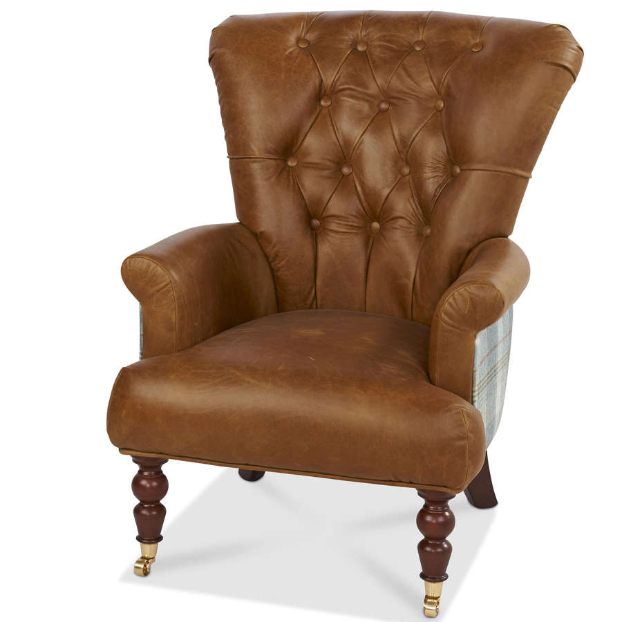 Harris Tweed and Leather Harrington High back Armchair