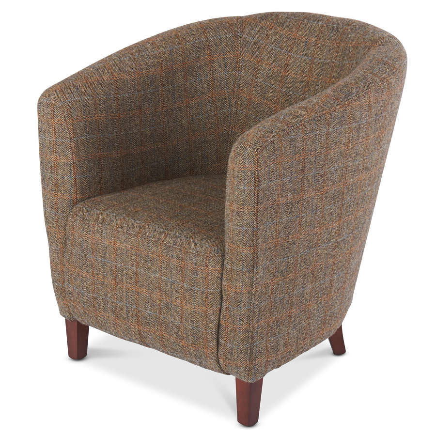 Harris Tweed and leather Tub Armchair
