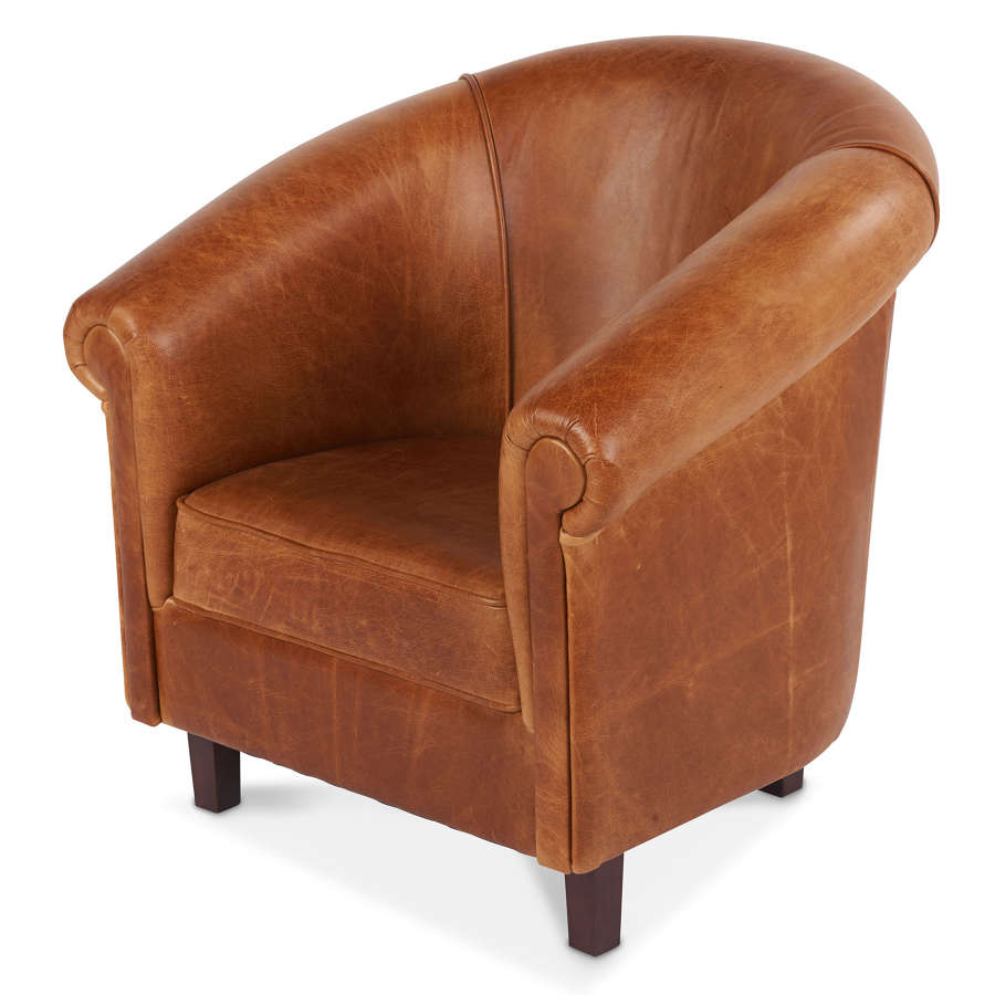 Harris tweed and Leather Sur Armchair