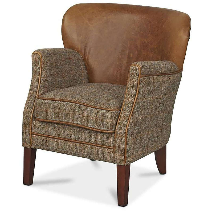 Holmes Armchair in Harris Tweed and Leather