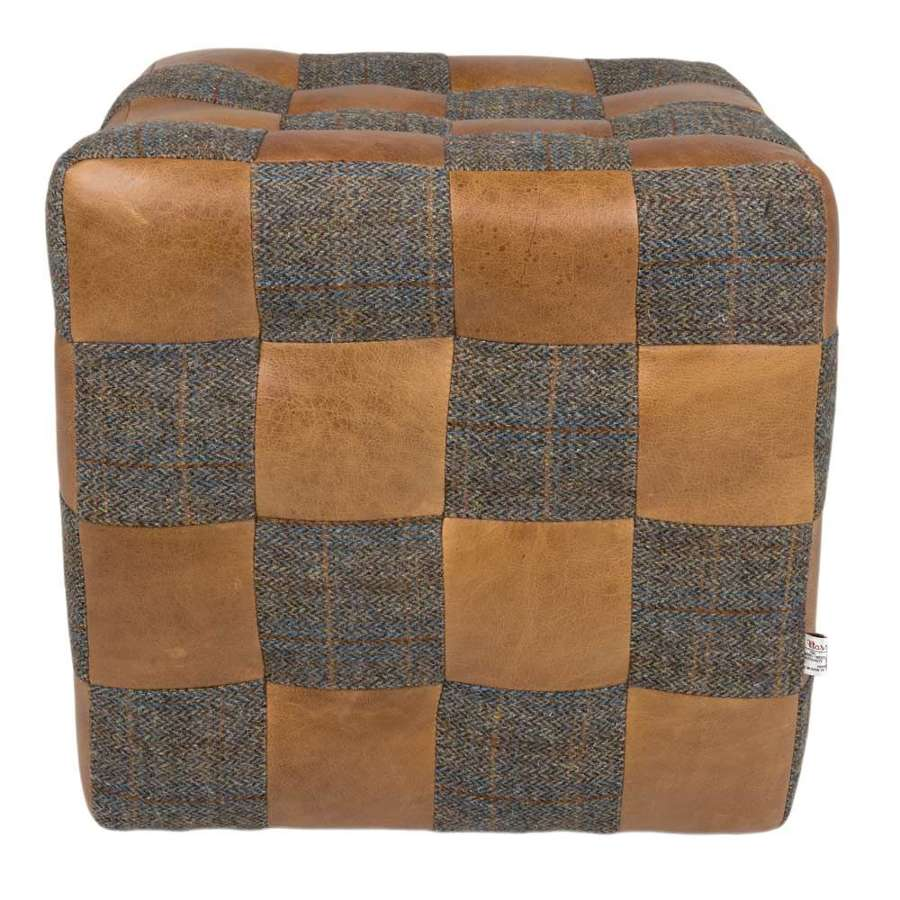 Uist Night Harris Tweed and Cerato Leather Patchwork Footstool