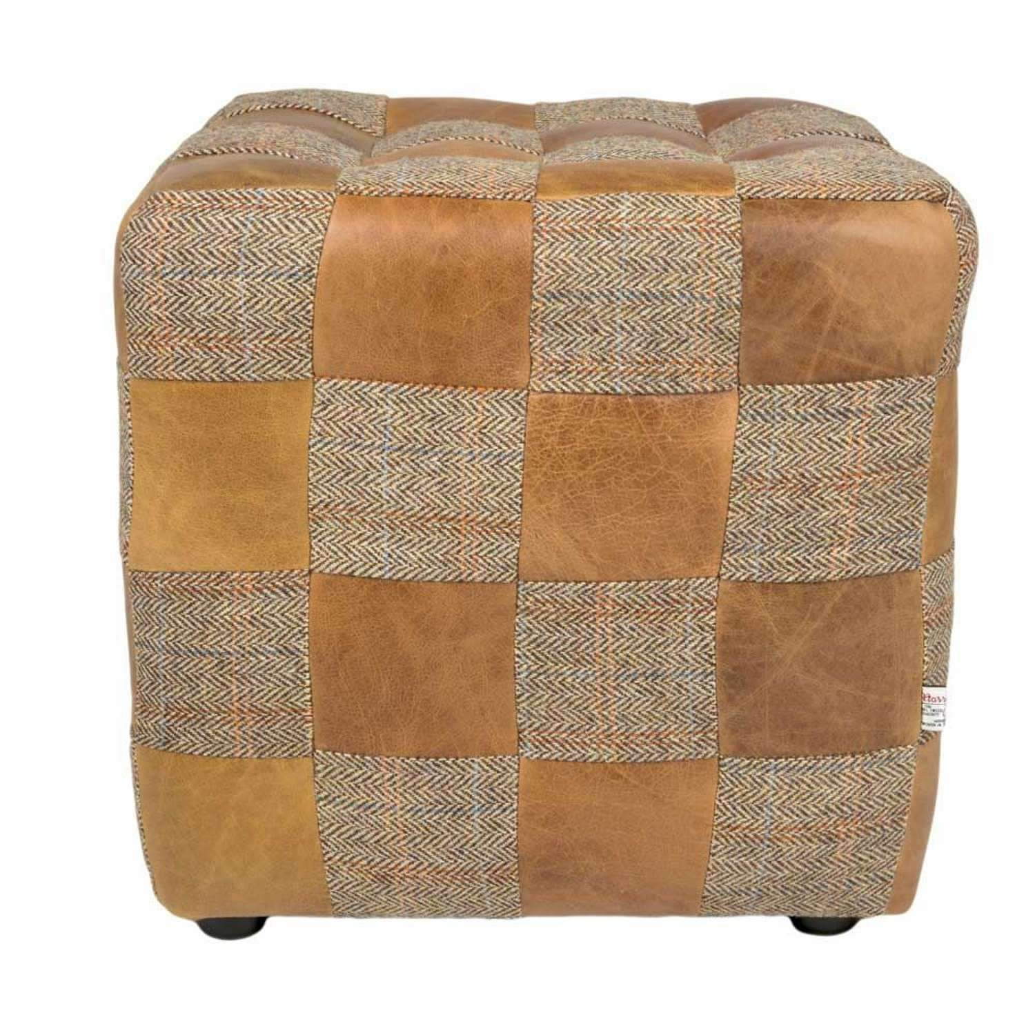 Gamekeeper Harris Tweed and Cerato Leather Patchwork Footstool