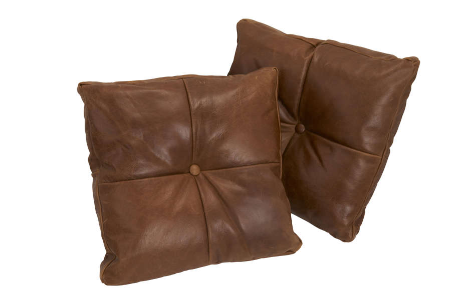 Vintage Leather box button cushion