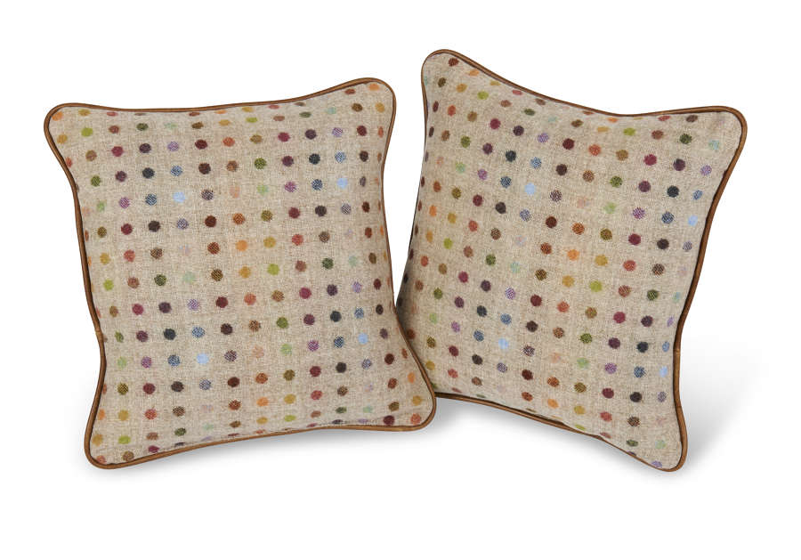 Fabric and Leather Piped Cushion
